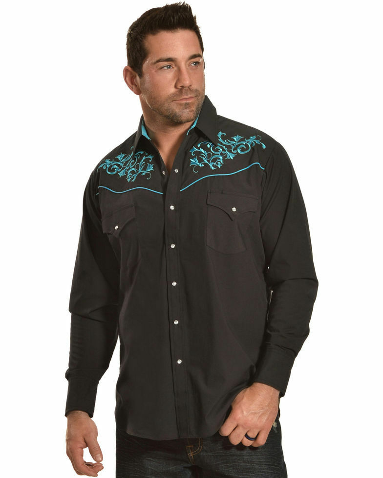 Mens Western Cowboy Shirt Embroidered Turquoise Scroll Ely Cattleman