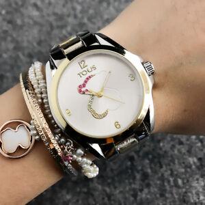 Women-039-s-Dress-Stainless-steel-Color-Crystal-Quartz-half-of-Bear-Watch
