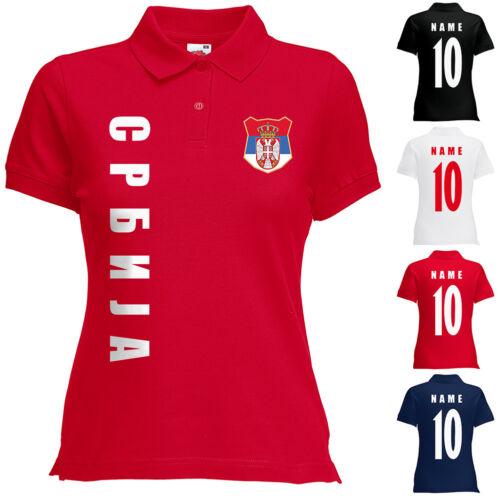 Serbien Srbija Damen Trikot Fanshirt Polo-Shirt WM 2018 Name Nummer