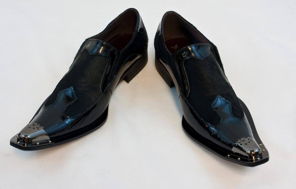 Neu ohne Fiesso ohne Neu Bügel Formelle Schuhe Lackleder Schwarz Pony Haar, Metall Spitze 0b42f6