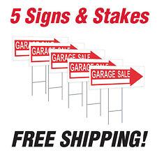 "5 - 10"" x 24"" Garage Sale Yard Signs Corrugated Plastic + FREE Stakes"