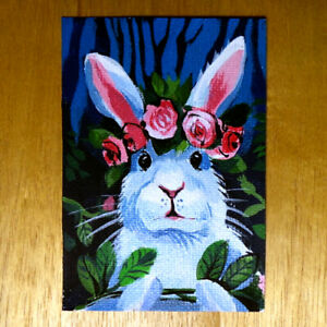 Original-painting-ACEO-hand-painted-OOAK-signed-classic-art-rabbit