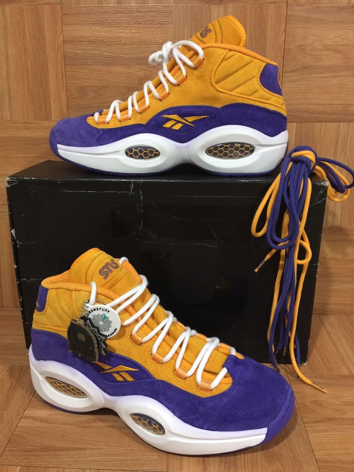 RARE Iverson   Reebok Question Mid x SneakerNstuff Allen Iverson RARE Lakers Gold Suede 10.5 1109a3