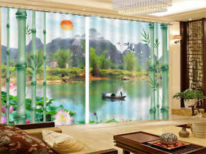 3D Mountain Pine Tree Birds Scenery Window Curtains Mural Blockout Drapes Fabric