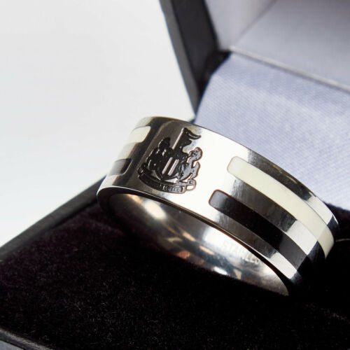 Mens Newcastle United Stainless Steel Colour Stripe Crest Band Ring