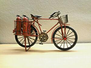 28cm Rotes Feuerwehr Nostalgie Fahrrad Metall Deko Blech Modell Geschenk Löscher