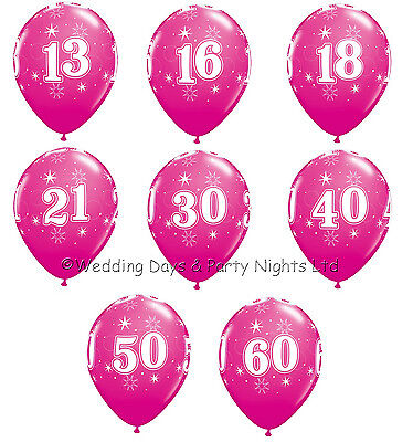 Qualatex 16th Latex Balloons Wild Berry Pack of 5 Birthday Party Helium or Air