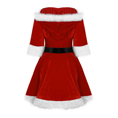 Women Santa Claus Dress Christmas Outfits Tops Bodysuit Costume Skirts Cosplay
