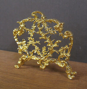 FIREPLACE-SCREEN-Dollhouse-Miniature-1-12-scale-Gold-Plated-Room-Box