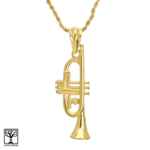 """Men/'s Stainless Steel GOLD SILVER TRUMPET Pendant 24/"""" Chain Necklace SCP 884"""