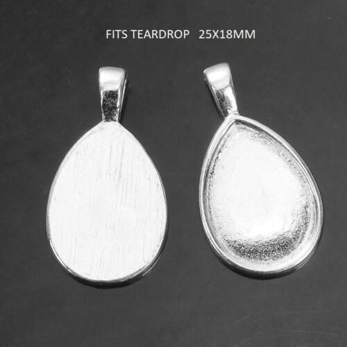 4 X Chapado en Plata configuraciones de cabujón con colgante oval se ajusta lágrima de vidrio de 25 X 18mm