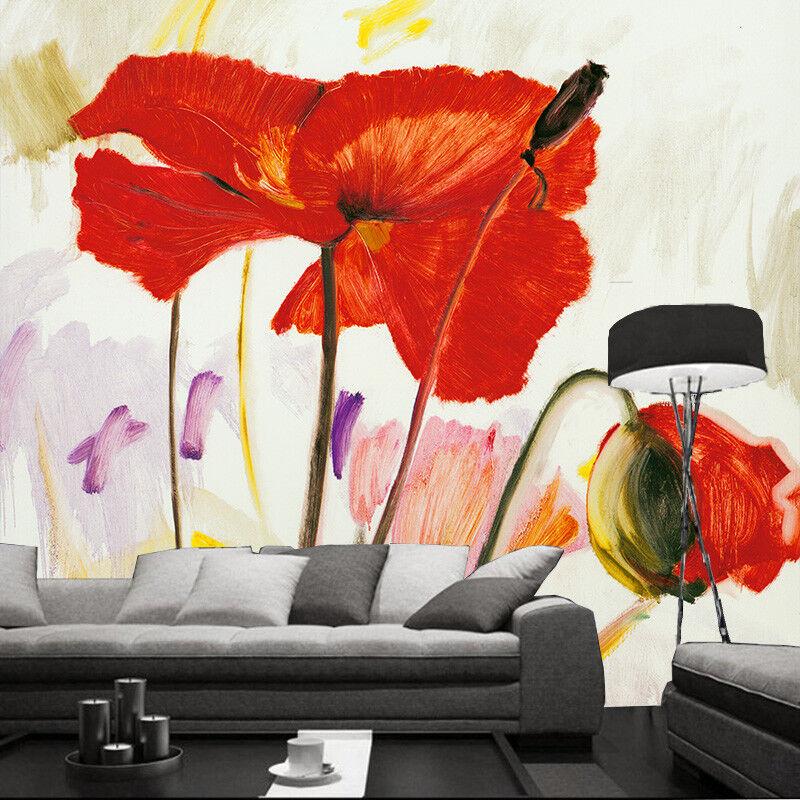 Papel Pintado Mural De Vellón De Pintura Flores Roja 1 Paisaje Fondo De Vellón Pantalla ES ea11ad