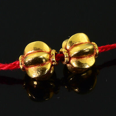 8.6MMx7.8MM 18k Solid Yellow Gold Pumpkin Spacer Findings Beads PAIR