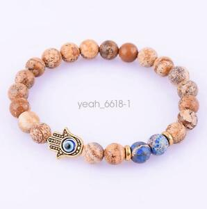 Men-039-s-8mm-Hamsa-Hand-Protection-Energy-Picture-Jasper-Stretch-Bracelet-7-8-034
