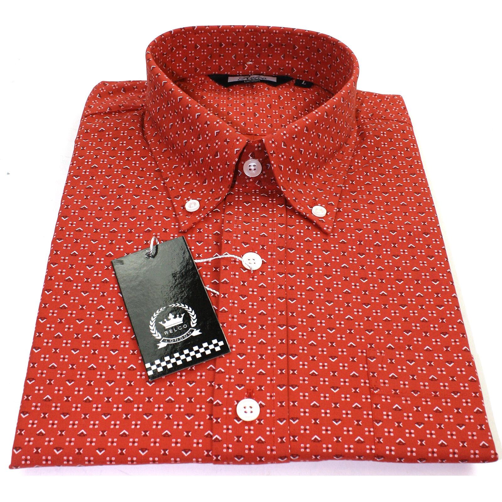 Relco Herren Orange Orange Orange rot langärmlig Hemd mit Knöpfkragen Psychedelische | Zu verkaufen  | Ermäßigung  | Gewinnen Sie hoch geschätzt  9db792