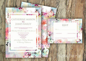 PERSONALISED RUSTIC FLORAL WATERCOLOUR FRAME WEDDING INVITATIONS