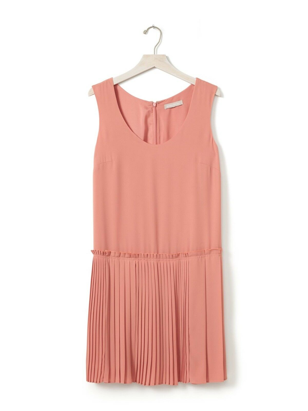 Banana Republic Pink Peach Accordion Pleated Drop Waist Dress Size 0 Sleeveless