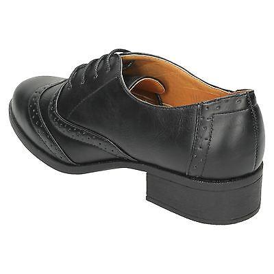 Damen Spot On schwarz Schnürschuhe f9962