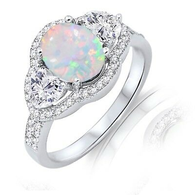 Oval White Fire Opal Simulated Diamond Heart Sterling Silver Cocktail Ring