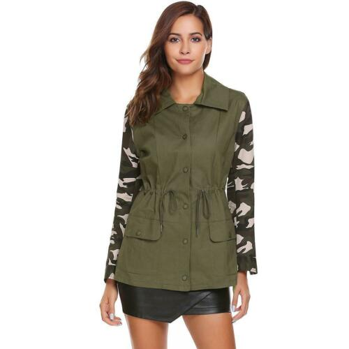 Women Casual Lightweight Camouflage Patchwork Jackets EH7E