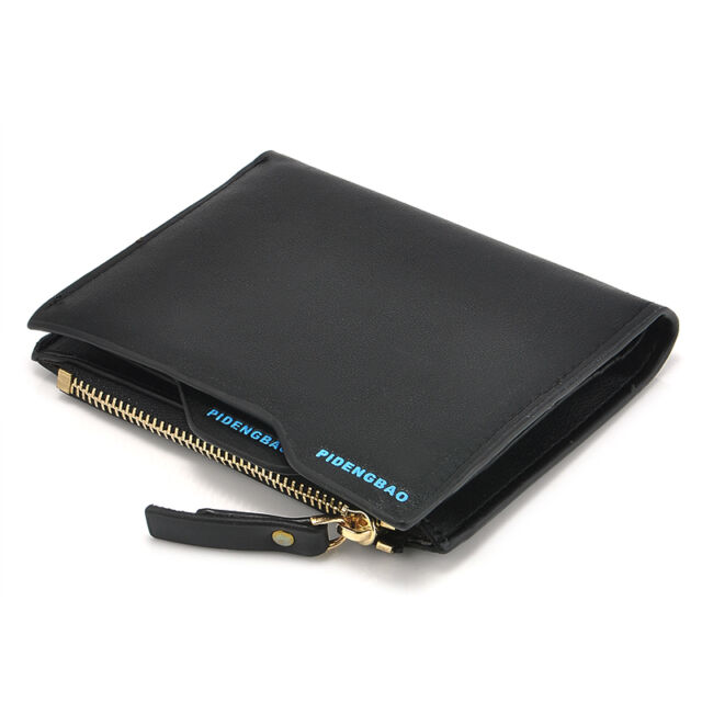 Mens Leather ID credit Card holder Clutch Bifold Coin Purse Wallet Pockets New