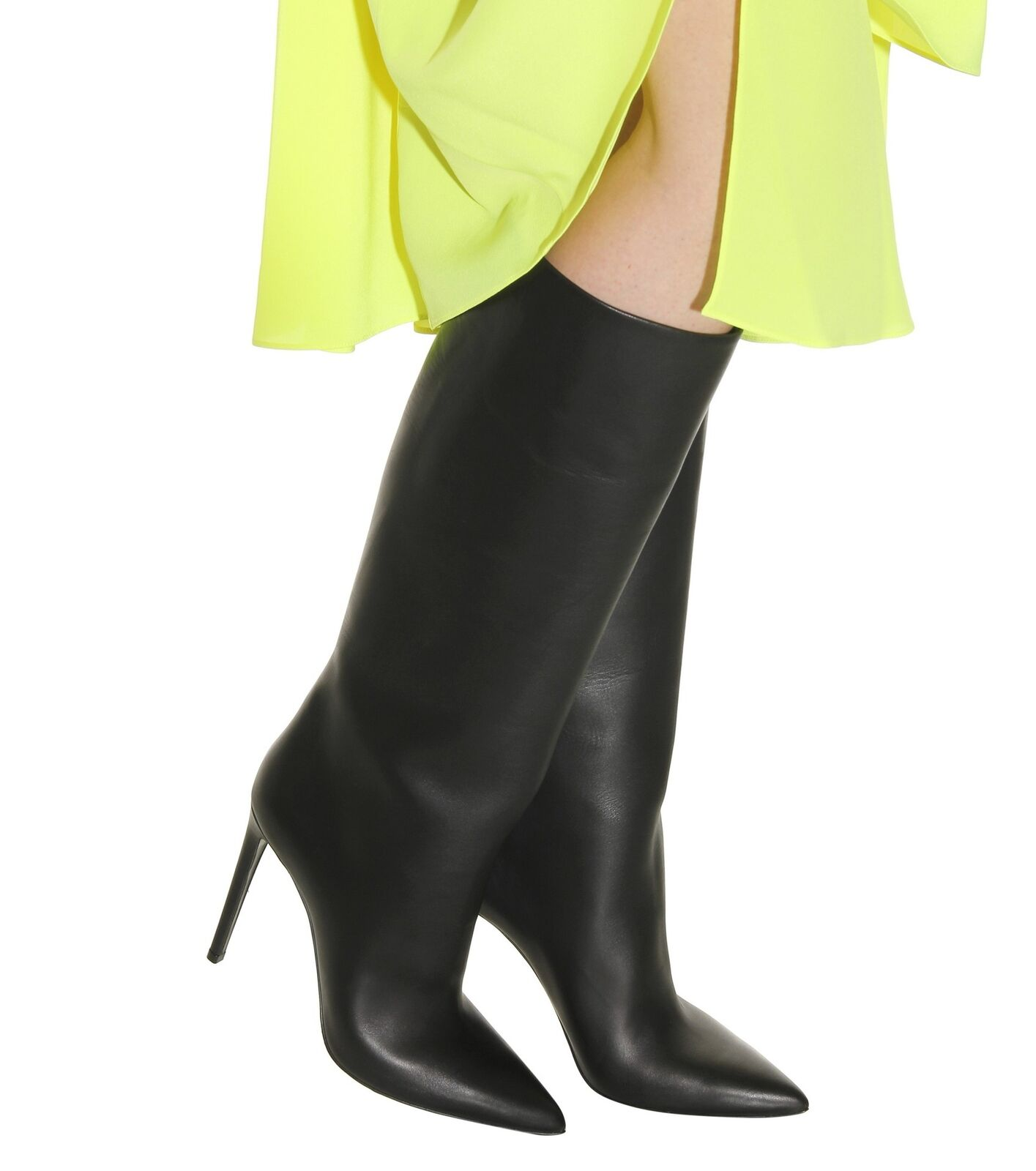 Women High Stilettos Mid Calf Heel Knee High Boots Sexy Pointed Toe Pull On shoes