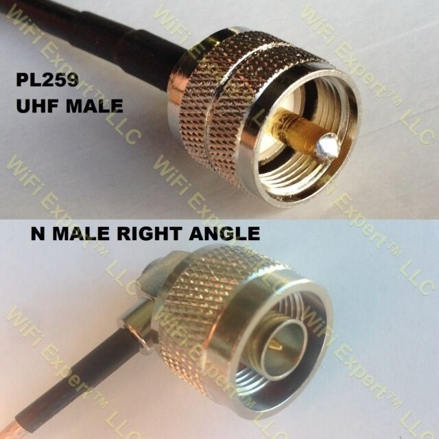 USA-CA LMR195 MINI UHF MALE to N MALE Coaxial RF Pigtail Cable