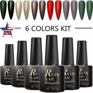 RBAN-NAIL-8ml-UV-Gel-Nail-Polish-Set-Kit-6Colors-Soak-Off-Varnish-Manicure-Salon