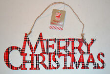Merry Christmas Tartan Wooden Xmas Tree Door Window Decorations Ornaments String