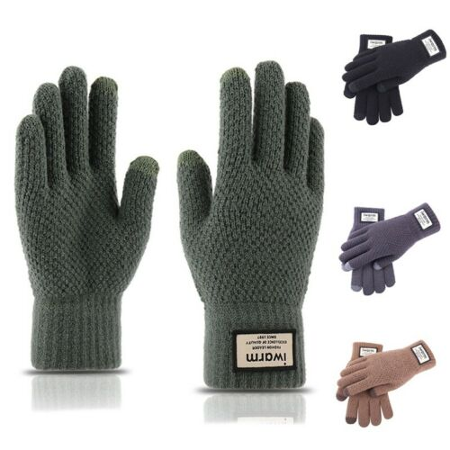 Mens Winter Touchscreen Gloves Warm Comfort Full Fingers Knit Mittens Pure Color