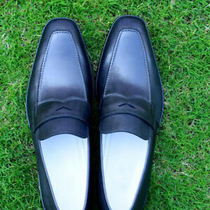 Handmade-Penny-Loafers-Men-Black-Fashion-Formal-Calf-Leather-Shoes