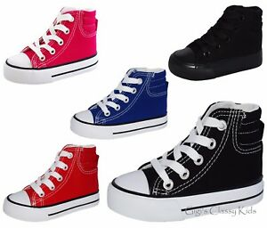 New Baby Boys Girls Toddler Canvas Tennis Shoes High Top Skater Lace
