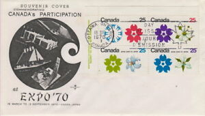 CANADA-508-511-25-EXPO-70-UL-PLATE-BLOCK-ON-ROSE-CRAFT-CACHET-FIRST-DAY-COVER