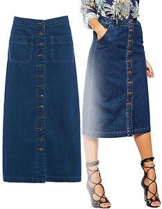 8a77171c24 La imagen se está cargando Mujer-Medio-Largo-Azul-Con-Botones-Vaqueros-Falda -
