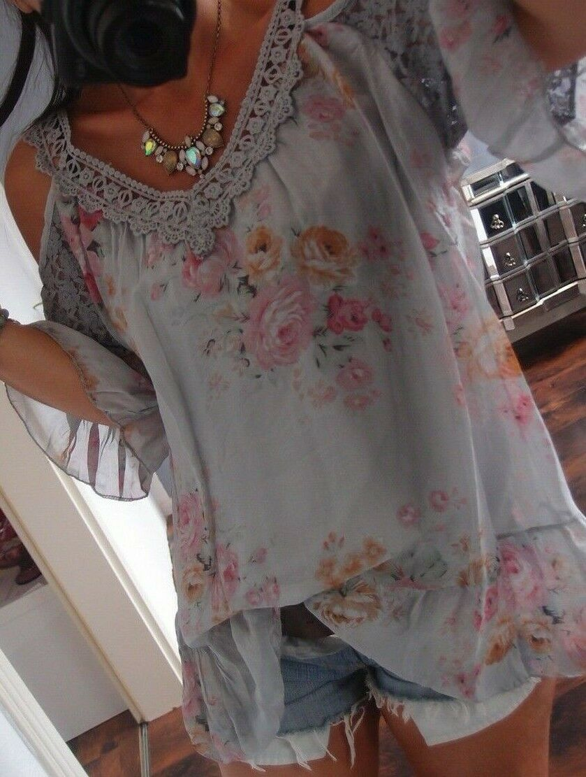 Seide Grau Blause Neu L 42  Cut Out Shirt Spitze Flower Blogger Tunika Ibiza 40