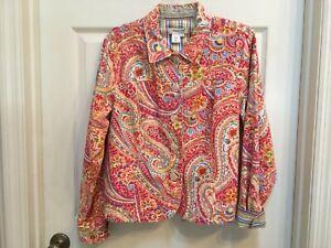 Coldwater-Creek-Denim-Jacket-Size-Large-Pink-Orange-Paisley