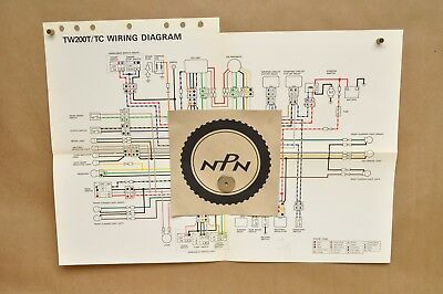 vtg 1987 yamaha trailway tw200 t tw200 tc color schematic wire wiring diagram ebay Yamaha TW200 Exhaust