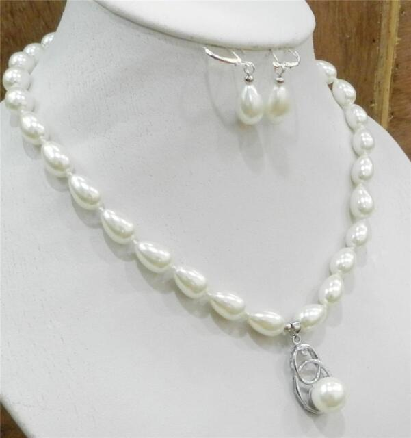 Teardrop White 9x13mm Akoya Cultured S Pearl Necklace Pendants Earring Set