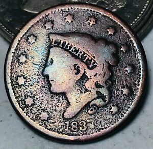 1837 Large Cent Coronet Head 1C Ungraded Good Date Early US Copper Coin CC5990
