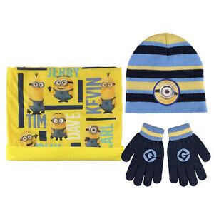Disney-Minions-Kinder-Winter-Set-3-tlg-Muetze-Bandana-Handschuhe-NEU