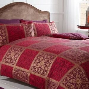 Image Is Loading Luxury Double Duvet Set Jewel Red Gold Purple