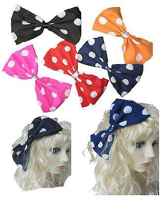 BIG side hair bow, LARGE HAIR BOW, oversized spotty/polka dot hair bow REDUCED