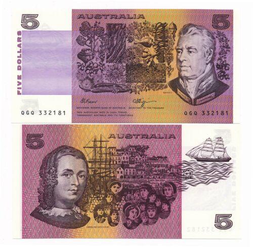 Australia Fraser Higgins $5 5 Dollars ND 1990 UNC Note Prefix QGQ   CV=$45