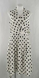 Jessica-Howard-Missy-Women-039-s-Ivory-Polka-Dot-Sleeveless-Daytime-Midi-Dress-14