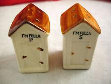 Vintage Salt & Pepper Shakers I'm Fulla S I'm Fulla P Outhouses Japan Corks