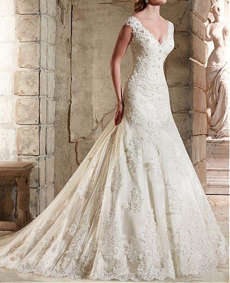 New Lace Wedding Dresses V Neck White Ivory Mermaid Trumpet Bridal Gown Custom