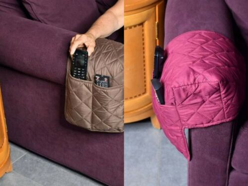 Sofa Couch Armrest Cover 2-Pocket Organizer Storage for Phone Remote Control