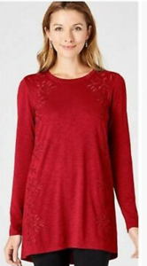 NEW-J-Jill-1X-Embroidered-amp-Beaded-Knit-Tunic-Top-Cotton-Modal-Spx-Red