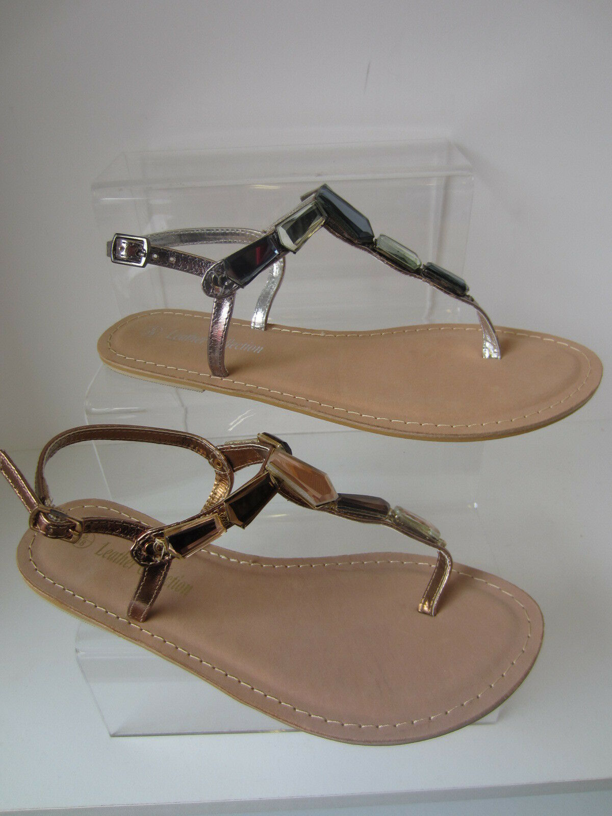 Ladies pewter/Bronze Leather UK Collection Toe Post Sandals UK Leather Sizes 4 - 8 F0897 0083a9