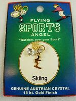 Skiing Skier Guardian Angel Pin Flying Sports Angel Crystal